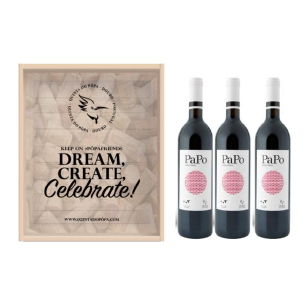Caixa de Madeira - Dream, Create, Celebrate Pôpa PaPo 3 garrafas