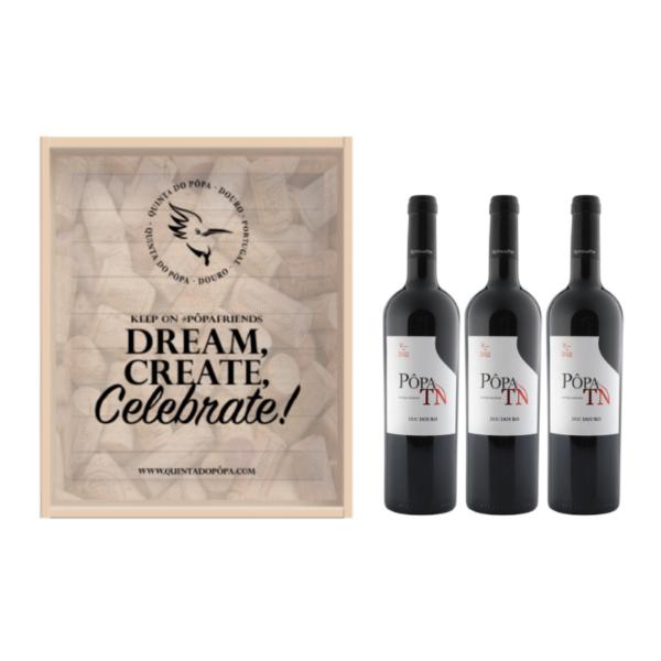 Caixa de Madeira - Dream, Create, Celebrate Pôpa Touriga Nacional 3 garrafas
