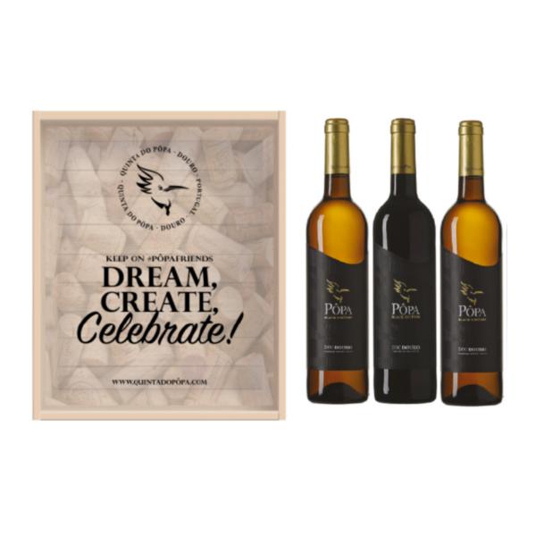 Dream, Create, Celebrate Pôpa Black Edition 3 garrafas - caixa de madeira