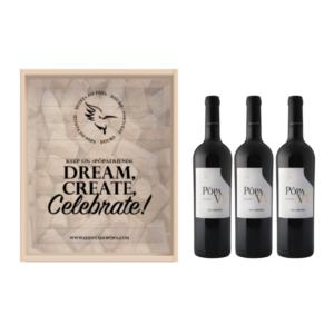 Caixa de Madeira - Dream, Create, Celebrate Pôpa VV 3 garrafas | VivaoVinho.Shop